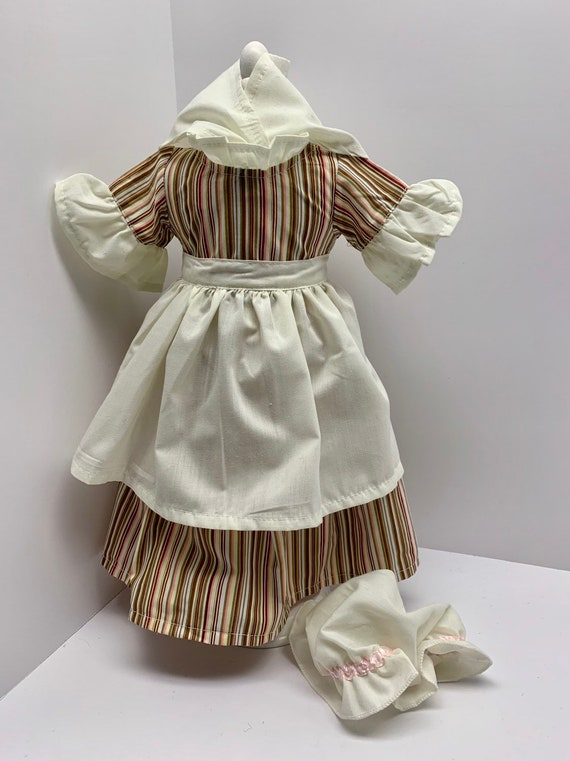 """Pink Stripe Colonial Work Gown Dress for American Girl 18/"""" Doll Clothes Felicity"""