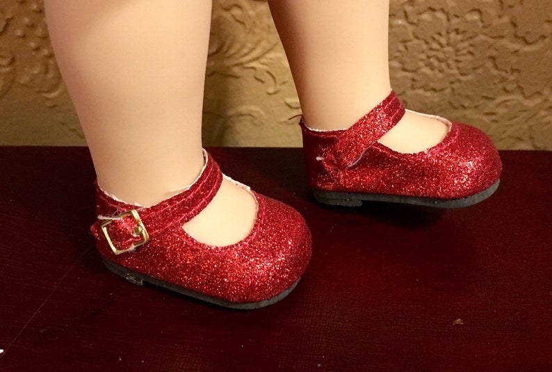 7745b8f1f069 Red Sparkle Mary Janes for Wellie Wishers by My Brittany's | Etsy