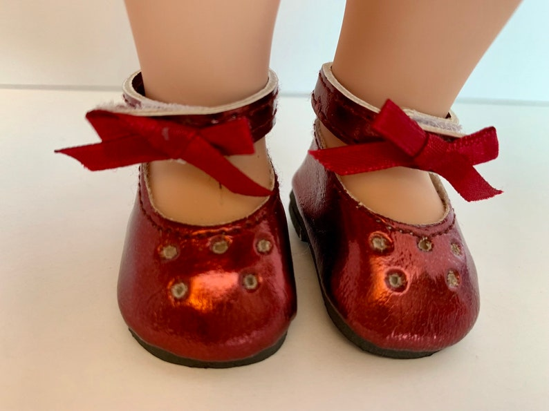 bac5f0ac612c Shoes for Wellie Wishers 14.5 Inch Doll Shoes burgundy dress | Etsy