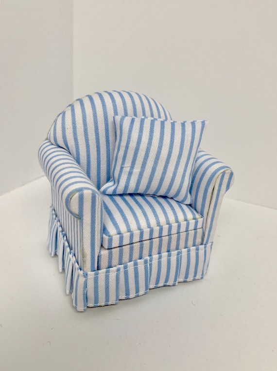 1:12 scale dollhouse furniture living room chair striped miniature sofa  chair blue and white