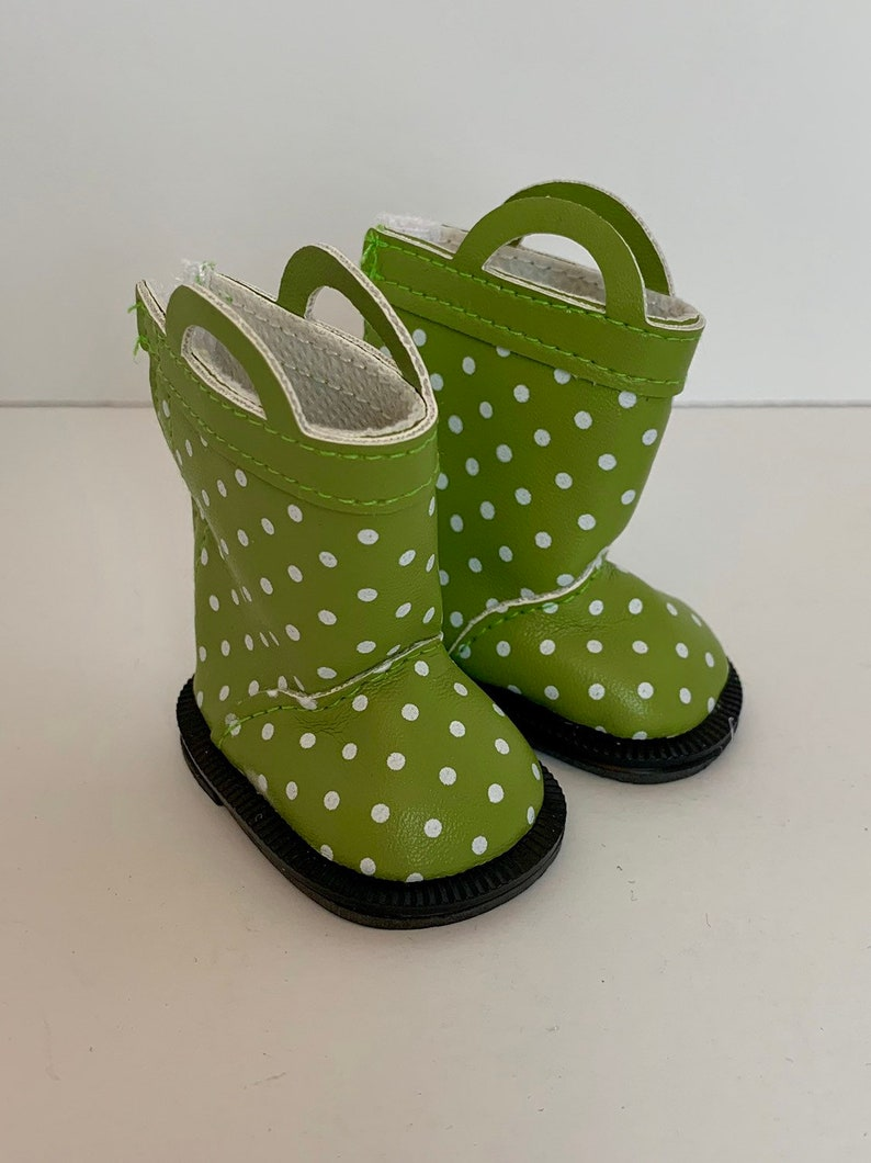 6b284a092154 Rain boots for Wellie Wishers by My Brittany's green polka | Etsy