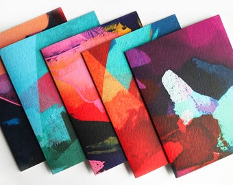 Colorful Abstract Painting Cards Box Set of 5