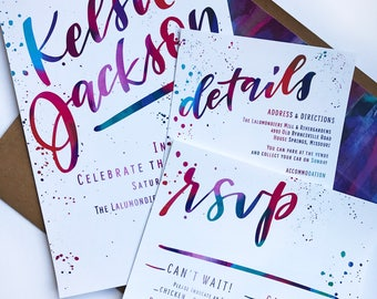 Brush Lettering Wedding Invitation Suite