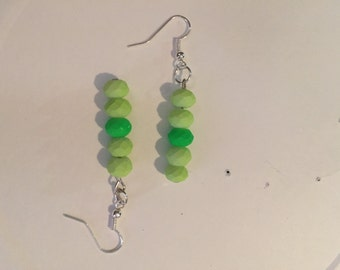 Cut-Glass Neon Green/Pale Lime Earrings