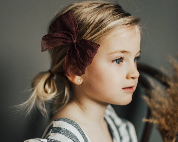 Headbands and Bows- Whimsical Collection | Isley | Burgundy crinkle bow or headband