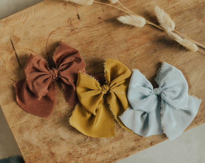 Large (grand) bow - Rust, Gold and Sky Blue colors | Hand dyed silk bow