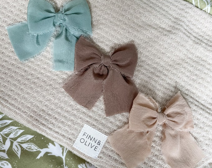 Headbands and Bows - Mint, Light Espresso and Tan silk colors | medium size