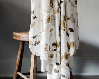 Baby Swaddle Blanket - Watercolor Antique Rust Floral Swaddle | the Marigold | Exclusive print to Finn & Olive