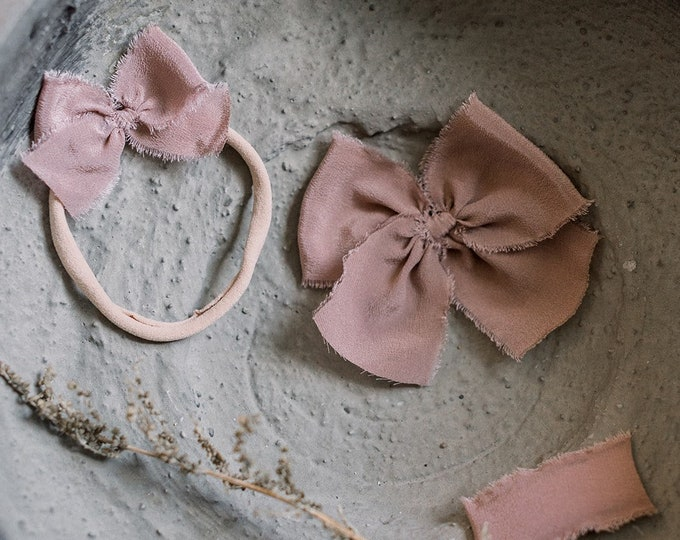 Featured listing image: Headbands and Bows- Winter Holiday Collection | Dusty Blush Taupe color | dainty, medium or snap