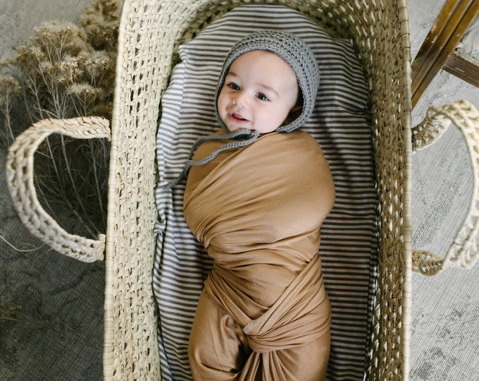 Baby Swaddle Blanket - Lux Carmel Swaddle | Wheatley