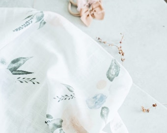 Baby Swaddle Blanket - Organic Watercolor Blush and Blue Floral Gauze Swaddle | the Layla | Exclusive print to Finn & Olive