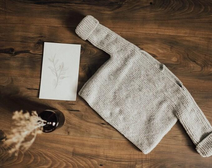 Sweater- Crochet Creamy Grey