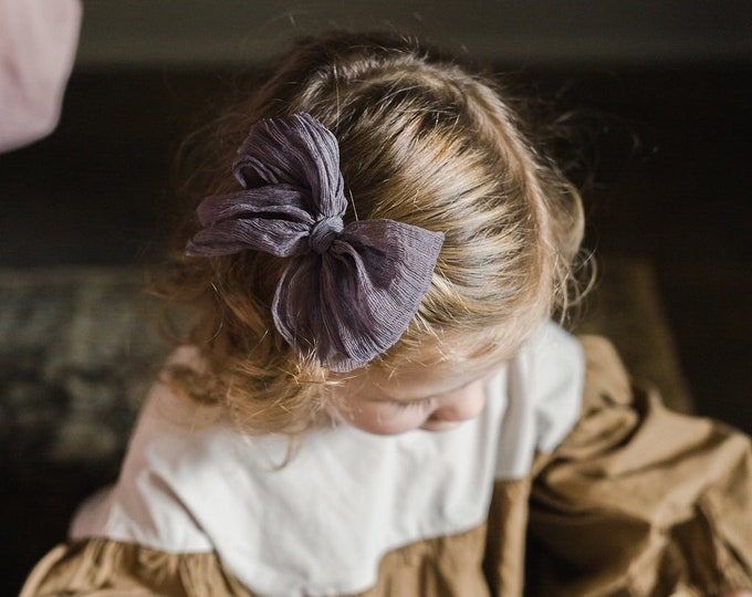 Headbands and Bows- Whimsical Collection | Sara | deep purple crinkle bow or headband