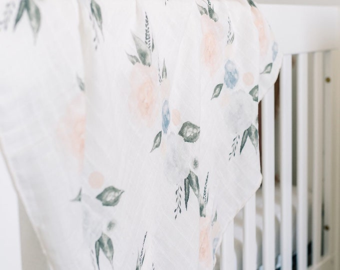 Featured listing image: Baby Swaddle Blanket - Organic Watercolor Blush and Blue Floral Gauze Swaddle   the Layla   Exclusive print to Finn & Olive