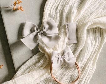 Headbands and Bows- Autumn Harvest Collection | Light Grey color | dainty, medium or snap