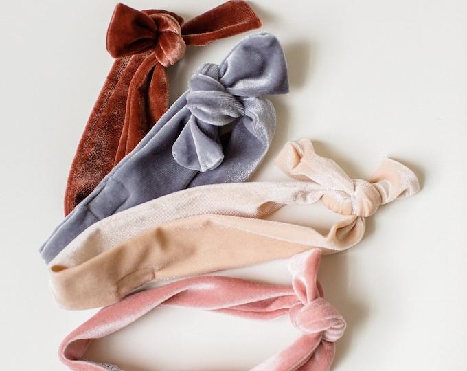 Headbands- Soft Velvet Knot Headwraps in either Blush, Cream + Rust