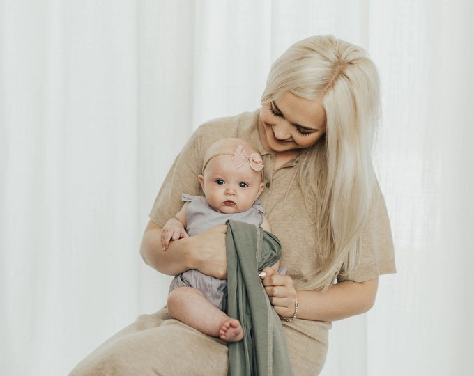 Baby Swaddle Blanket - Lux Antique Pewter Swaddle | the Penn