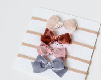 Headbands- | The Paris Collection | Rust, Grey, Blush + Cream Velvet Dainty Bows