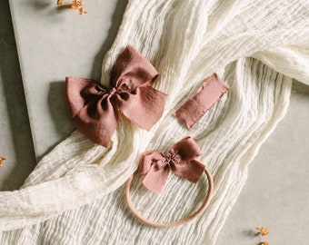 Headbands and Bows- Autumn Harvest Collection | Deep mauve color | dainty, medium or snap