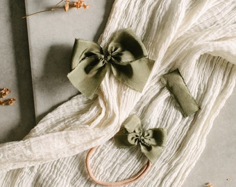 Headbands and Bows- Autumn Harvest Collection | Deep green color | dainty, medium or snap