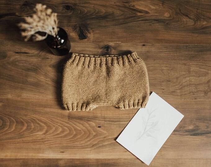 Shorts- Crochet tan knit