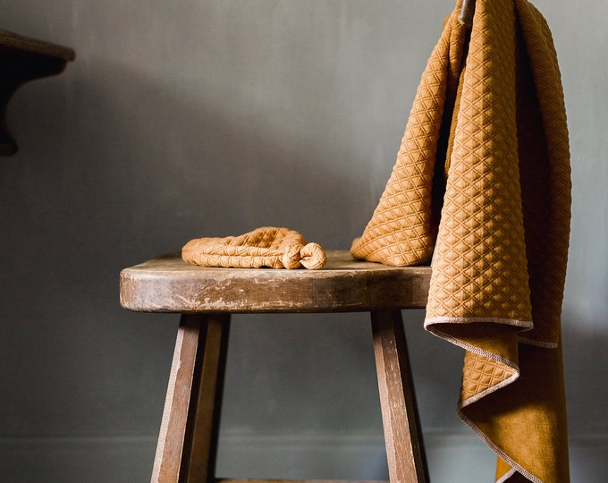Featured listing image: Baby Swaddle Blanket - Rust Quilted Swaddle | the Raven | Exclusive print to Finn & Olive