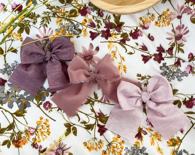 Headbands and Bows - Light purple, Deep purple, and mauve silk colors | medium size