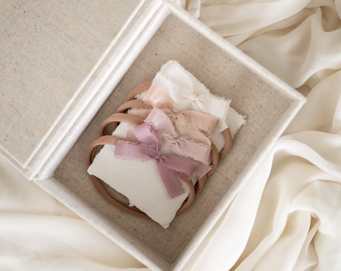 Featured listing image: Newborn Bow Set- Ivory, Soft blush, Creamy tan and Mauve colors | mini size | set of 4