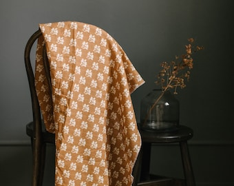 Muslin Blanket - Watercolor | the Aurelia | Cream and Rust Floral | Exclusive print to Finn & Olive