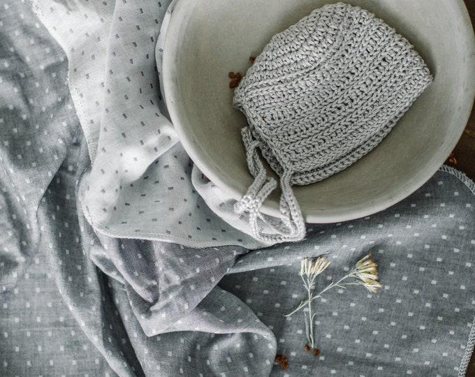 Baby Swaddle Blanket - Grey Muslin Dot Reversible Swaddle | Eden |