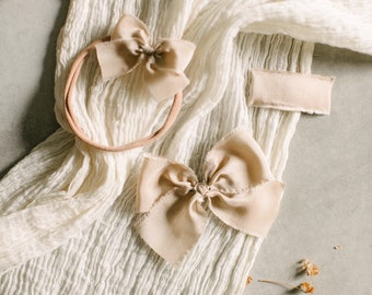 Headbands and Bows- Autumn Harvest Collection | Cream color | dainty, medium or snap