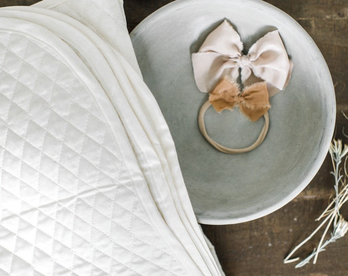 Baby Blanket -Antique Ivory Quilted Blanket | Frances |