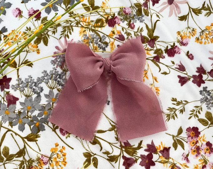 Large bow - mauve silk color | Hand dyed silk bow