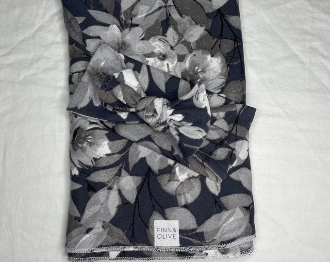 Baby Swaddle Blanket - Grey and Black Floral colors