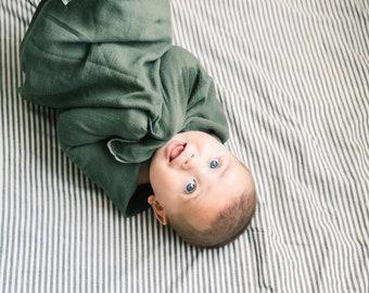 Baby Swaddle Blanket - Hunter Green Gauze Swaddle | Wells