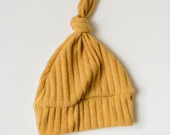 Beanie/Hat - Infant Knot Beanie in Mustard Stripe Knit