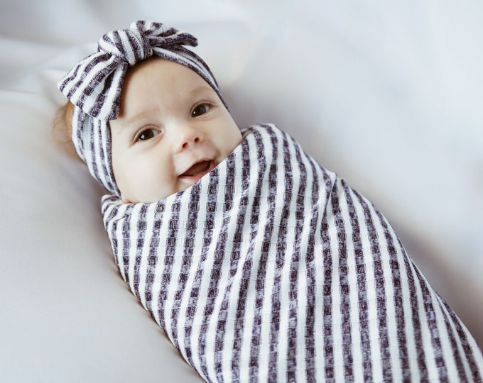 Baby Swaddle Blanket Set - Navy Stripe colors | Swaddle and Knotted Turban, Headband or Beanie