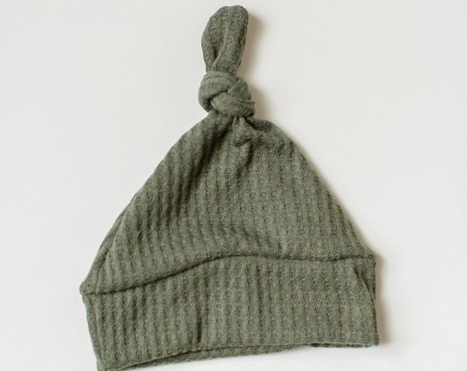 Featured listing image: Beanie/Hat - Infant Knot Beanie in Hunter Green Waffle Sweater Knit