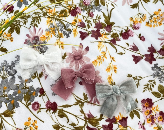 Headbands and Bows - White velvet, Grey velvet and mauve silk color | small size