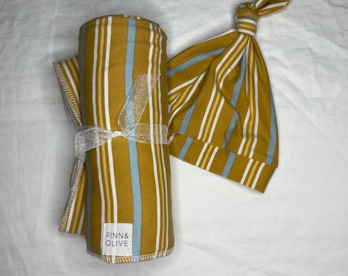 Baby Swaddle Blanket Set - Mustard Stripe | Swaddle and Beanie