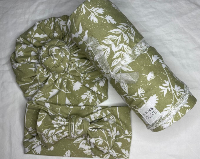 Baby Headband and Turban - Green and white floral, yellow and green floral colors
