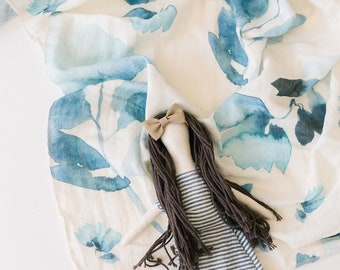 Baby Swaddle Blanket - Watercolor Navy Blue Floral Organic Gauze Swaddle | the Etta | Exclusive print to Finn & Olive