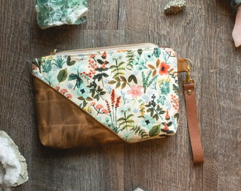 Rifle Paper Bag, Floral Bag, Waxed Canvas Pouch, Rifle Paper Co Purse, Waxed Canvas Bag, Zippered Pouch, Floral Clutch, Mothers Day Gift