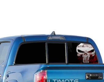 Punisher See Thru Sticker Graphic Decals Rear Window Perforated Decal Sticker Scull Compatible with Nissan Navara Printed Off Road srt