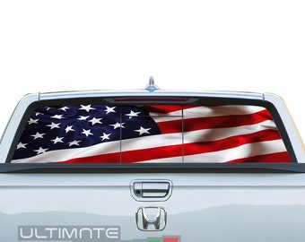 65aa335a See Thru Sticker Graphic Decals Rear Window Perforated Decal Sticker USA  Flag Compatible with Honda Ridgeline turbo Printed Off Road 4x4