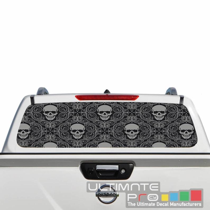 Perforated Decals Rear Window See Thru Sticker Graphic Decal Sticker Scul Texture Compatible with Nissan Navara Film Printed 4x4 Truck