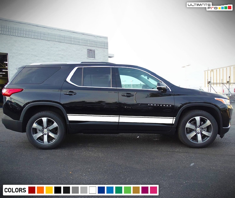 set of Stripe Kit Decal Sticker Graphic Compatible with Chevrolet Traverse 2016-2018 Suv Mats Seat Cover