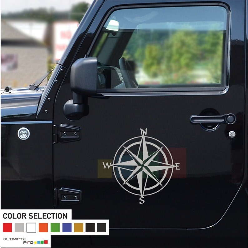 2x Compass Decal sticker compatible for Jeep Wrangler RUBICON on doors upgrade