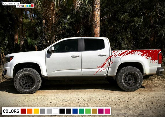 Mud Splash 2 Vinyl Sticker Graphic Decal Stripe Truck Bed Chevy Colorado Ford
