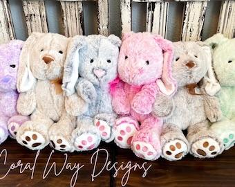 Personalized Flower Girl Bunny, Custom Monogrammed Plush Toy, Newborn Announcement, Flower Girl Gift, Custom Kids Birthday Gift